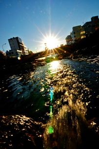 太陽の光と川の流れの写真素材 [FYI00150216]
