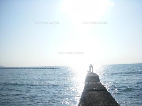 太陽の下で釣りをする子どもたちの写真素材 [FYI00151498]