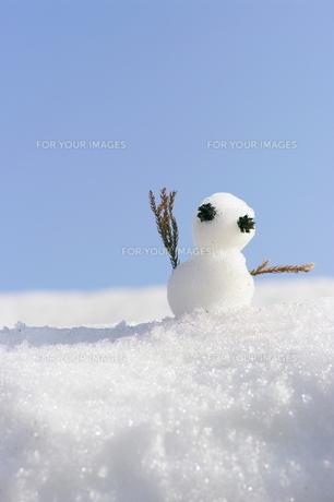 青空とかわいい雪だるまの写真素材 [FYI00153634]