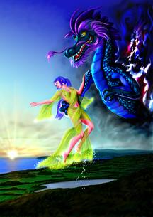 日の出を呼ぶ天女と竜神の写真素材 [FYI00156383]