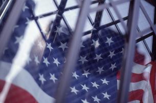ショウウインドウの中の星条旗の写真素材 [FYI00156422]