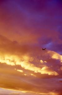 夕日の中の飛行機の写真素材 [FYI00156469]