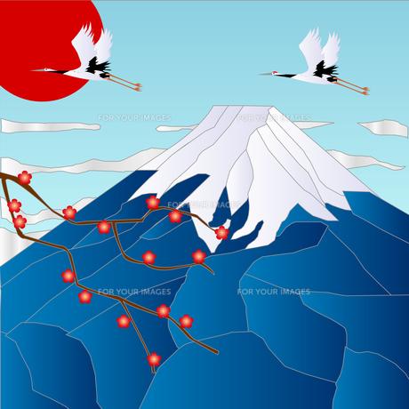 富士山と初日の出の写真素材 [FYI00157431]