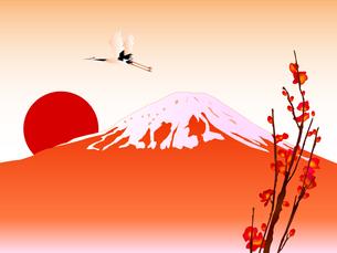 富士山と初日の出の写真素材 [FYI00157476]