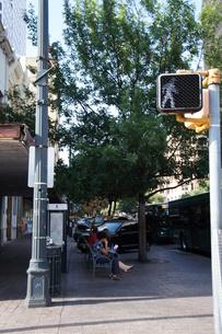 アメリカ テキサス 街中 横断歩道から見たベンチ・人の写真素材 [FYI00164794]
