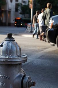 アメリカ テキサス 消火栓と横断歩道と人の写真素材 [FYI00164817]