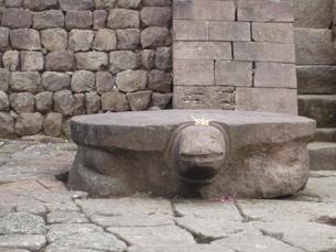 少し笑っている亀の台座の写真素材 [FYI00165092]