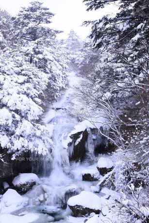 栃木県・奥日光竜頭の滝の雪景色の写真素材 [FYI00166086]
