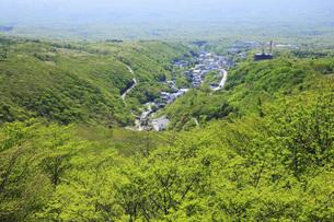 新緑の那須高原と那須湯本温泉郷を望むの写真素材 [FYI00166116]