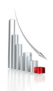 ガラス質のグラフと金属の矢印の写真素材 [FYI00166309]