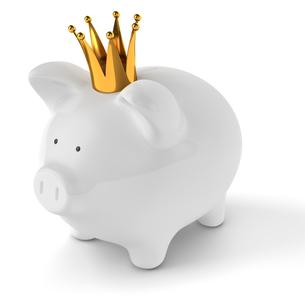 王冠をかぶったブタ貯金箱の写真素材 [FYI00166314]