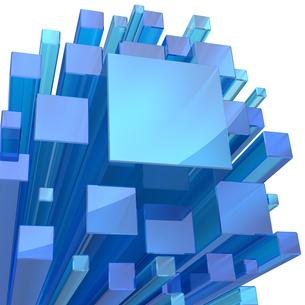 青いガラスの立方体のバックグラウンドの写真素材 [FYI00166361]