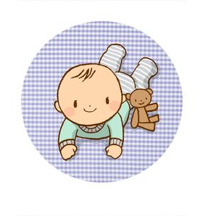 赤ちゃんとクマのぬいぐるみの写真素材 [FYI00166608]