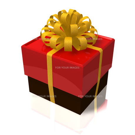 金色のリボンの赤い箱の写真素材 [FYI00168168]