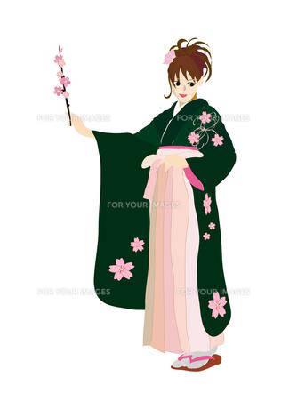振袖の女性と桜の枝の写真素材 [FYI00168327]