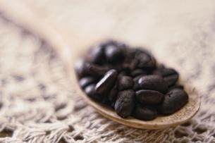 コーヒー豆/スプーンの写真素材 [FYI00168424]