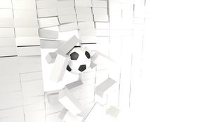 ぶろックを突き破るサッカーボールの写真素材 [FYI00168468]