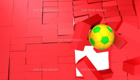 ブロックを突き破るサッカーボールの写真素材 [FYI00168483]