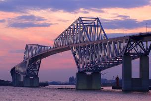 茜色に染まる東京ゲートブリッジの写真素材 [FYI00168855]