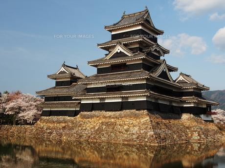 桜咲く松本城の写真素材 [FYI00169998]