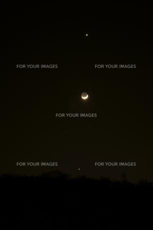 月と金星と木星の写真素材 [FYI00171581]