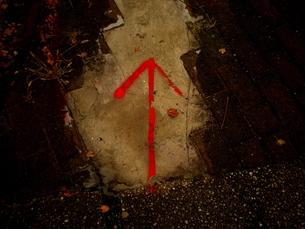 歩道に浮かぶ赤い矢印の素材 [FYI00172004]