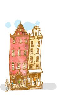 赤レンガ色と黄土色の建物の写真素材 [FYI00172209]