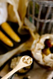 スプーン一杯の松の実の写真素材 [FYI00172210]