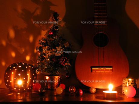 クリスマスツリーとウクレレの写真素材 [FYI00172296]
