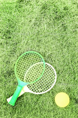 芝生の上のテニスセットの写真素材 [FYI00173219]
