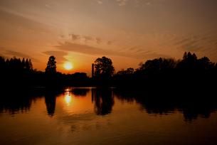 水辺の夕日の写真素材 [FYI00174852]