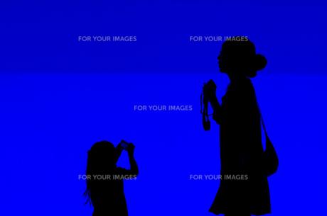 青に浮かぶ女の子のシルエットの写真素材 [FYI00175001]