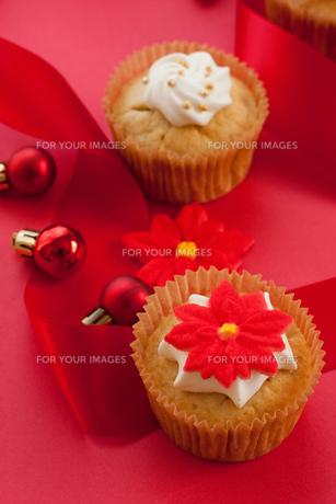 かわいいポインセチアのクリスマス・カップケーキの素材 [FYI00175862]