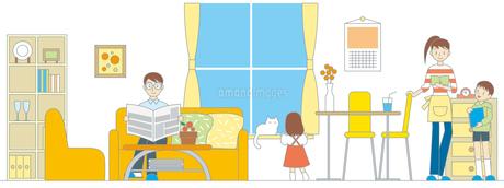 リビングルームの家族イラストの写真素材 [FYI00176534]