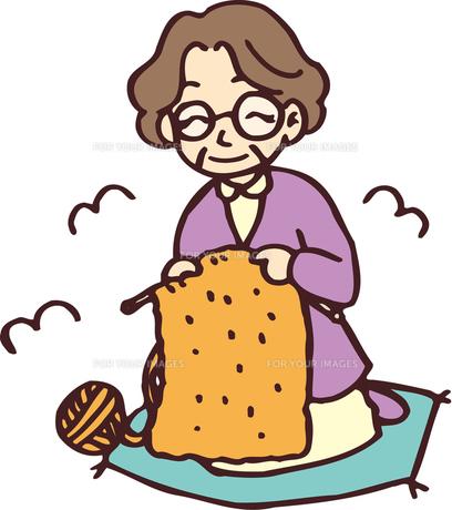 編み物をするおばあさんの素材 [FYI00176535]