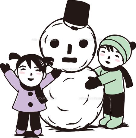 雪だるまと子供の写真素材 [FYI00176544]
