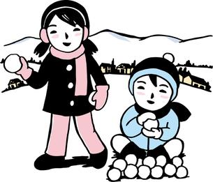 雪合戦をする子供の写真素材 [FYI00176545]