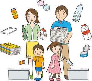 ゴミを分別する家族イラストの写真素材 [FYI00176551]