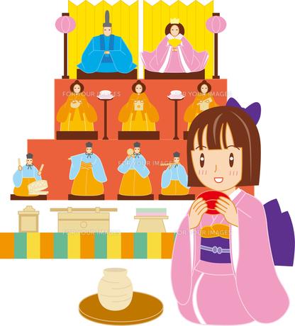 ひな人形と女の子の写真素材 [FYI00176560]
