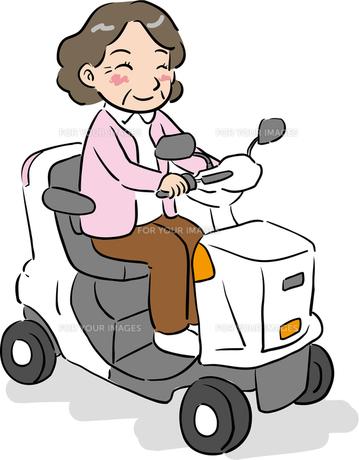 電動シニアカーを運転するおばあさんの写真素材 [FYI00176570]