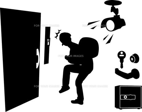 泥棒とセキュリティ防犯イラストの写真素材 [FYI00176575]