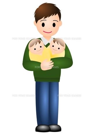 双子の赤ちゃんとパパの写真素材 [FYI00177103]