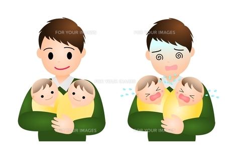 双子の赤ちゃんとパパの写真素材 [FYI00177109]