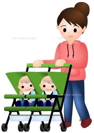 双子の赤ちゃんとママの写真素材 [FYI00177110]