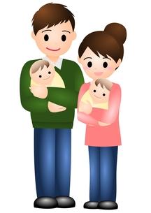 双子の赤ちゃんと夫婦の素材 [FYI00177112]