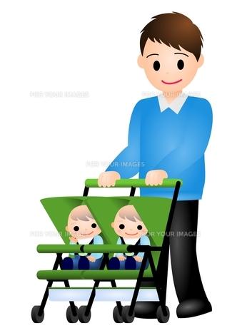 双子の赤ちゃんとパパの写真素材 [FYI00177113]