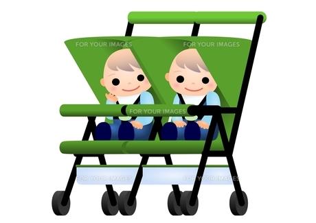 赤ちゃん 双子 ベビーカーの写真素材 [FYI00177119]