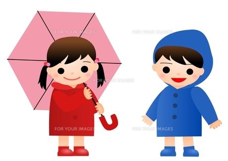 子供 雨降りの写真素材 [FYI00177323]