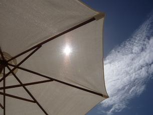 パラソル越しの太陽の写真素材 [FYI00177354]