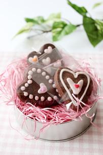ハートのクッキーピンクの写真素材 [FYI00177419]